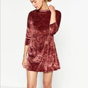 Zara Crushed Velvet Mock Neck Dress in Pink L